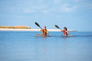 couple kayaking in the Gulf